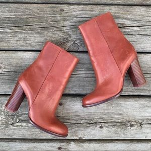 Sam Edelman Stacked Heel Leather Ankle Boots